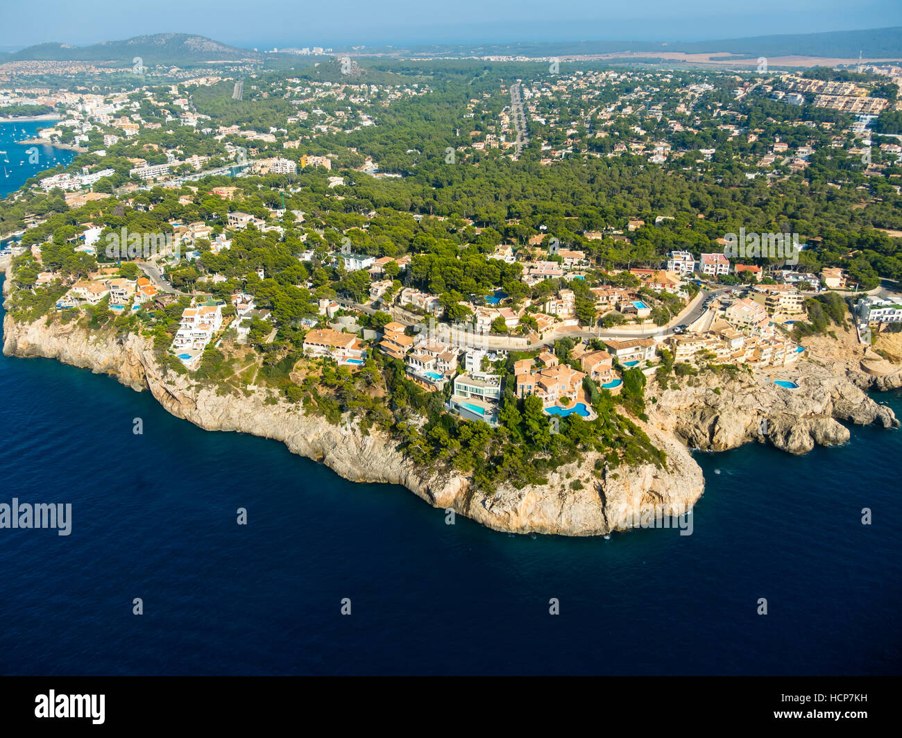 Aerial photograph, view of Santa Ponca, Mallorca, Balearic Islands, Spain - Stock Image