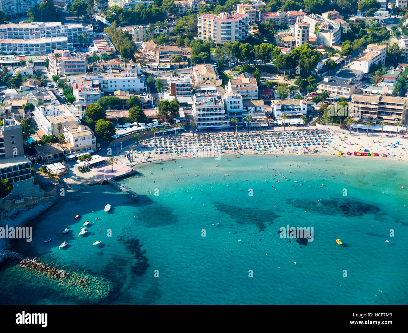 Aerial photograph, view of bay and beach of Peguera, Mallorca, Balearic Islands, Spain - Stock Image