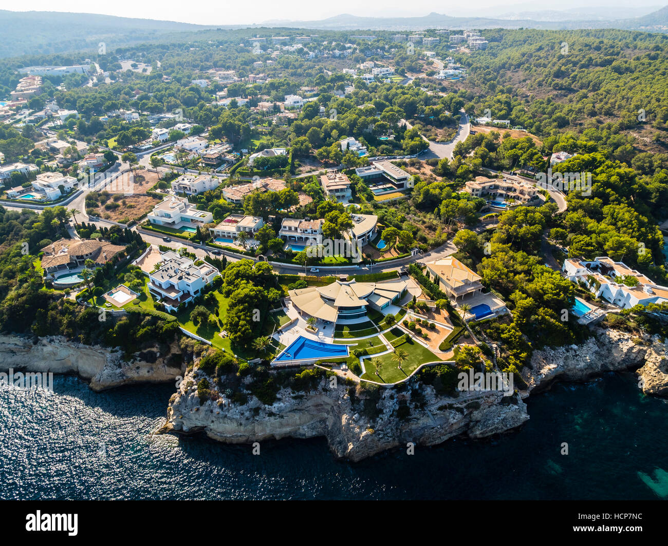 Aerial view, villas at Portals Vells, El Toro, Mallorca, Balearic Islands, Spain - Stock Image