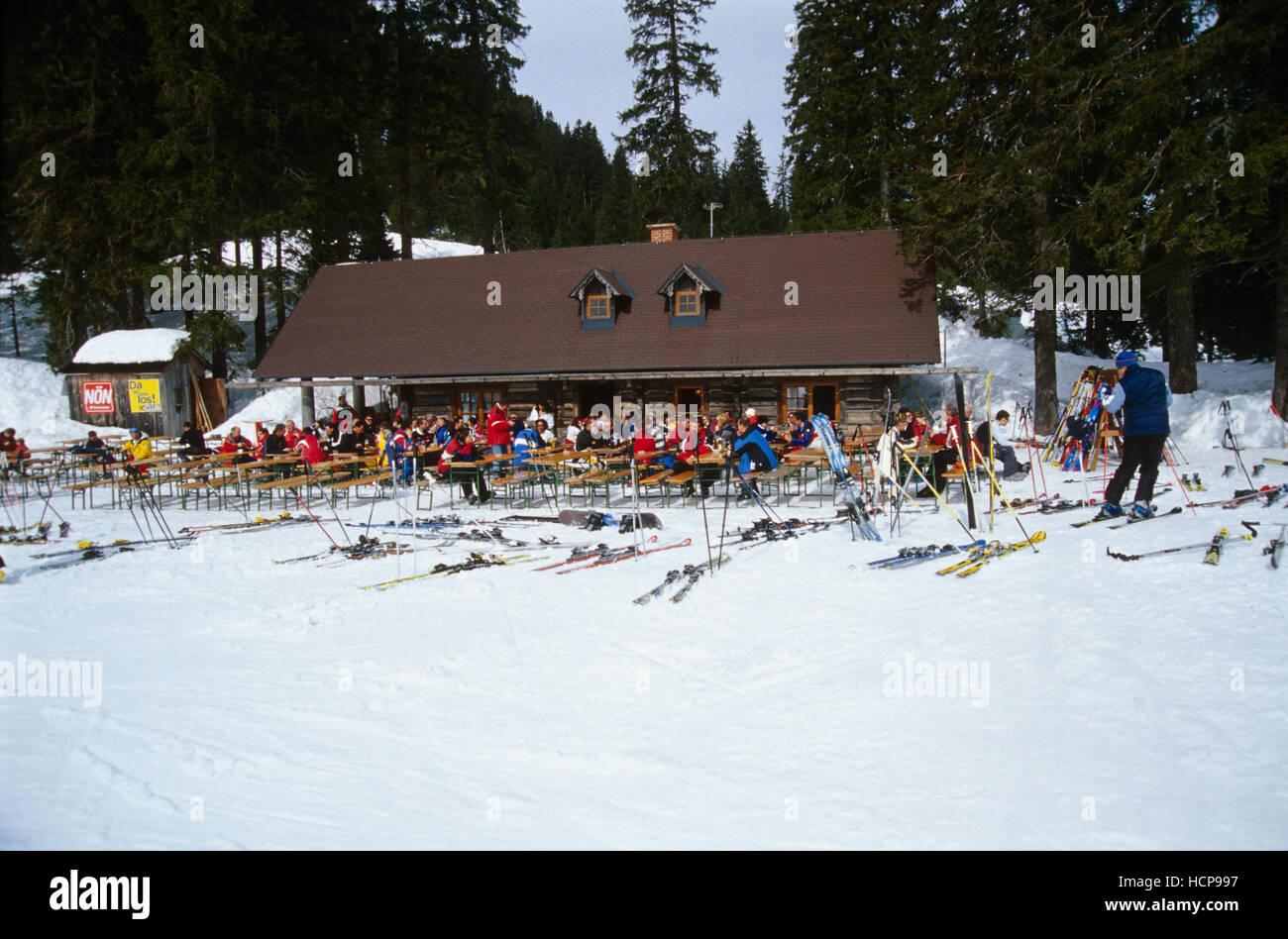 Many people at a ski hut, Hochkar, Lower Austria, Austria, Europe Stock Photo