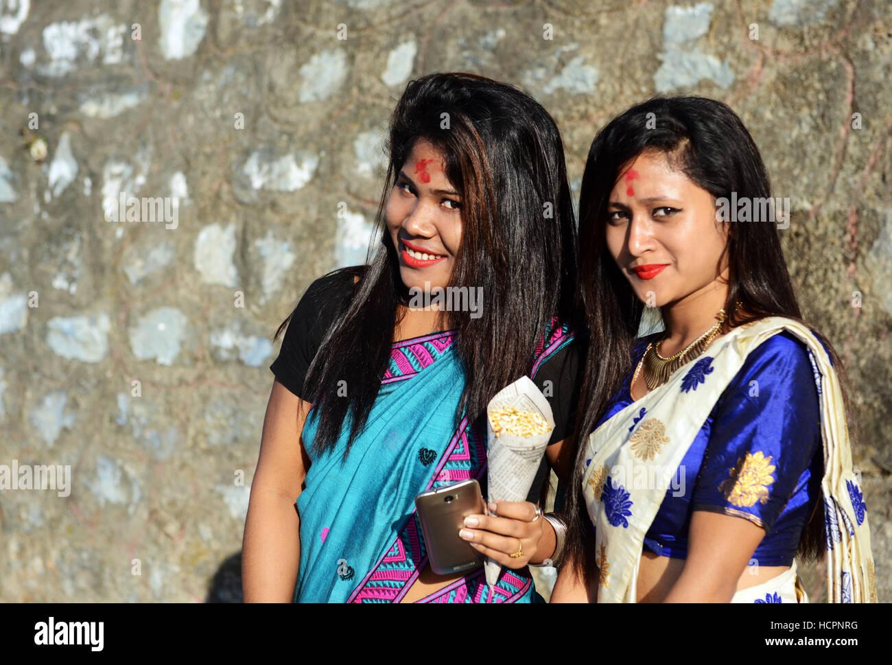 Beautiful Assamese Girls In Guwahati, Assam Stock Photo -9292