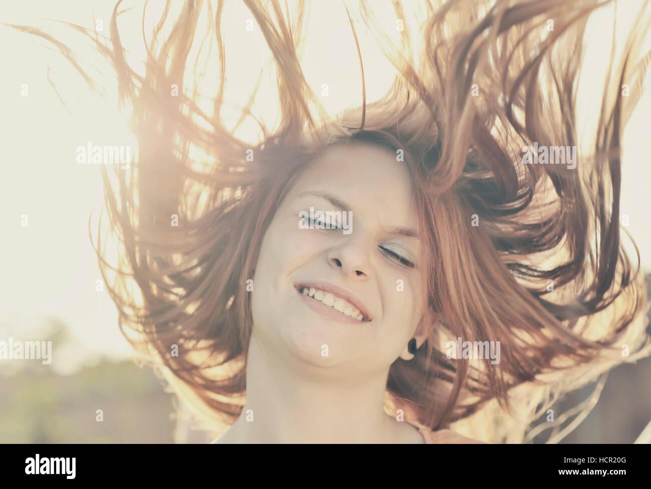 Beautiful girl face - Stock Image