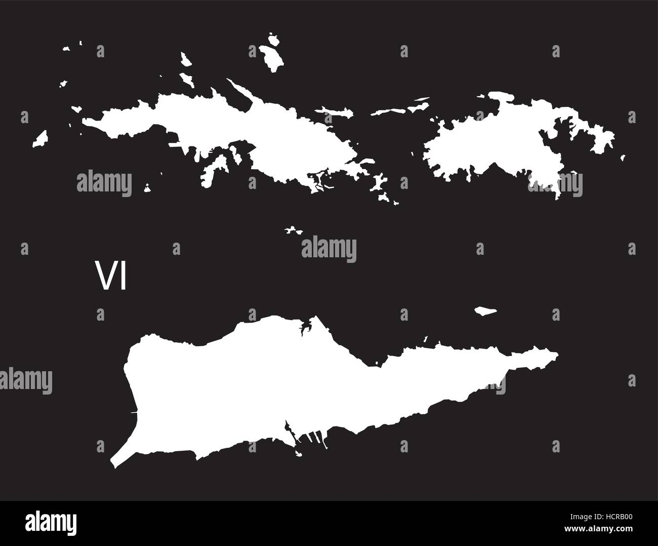US Virgin Islands Map black and white illustration Stock Vector Art ...