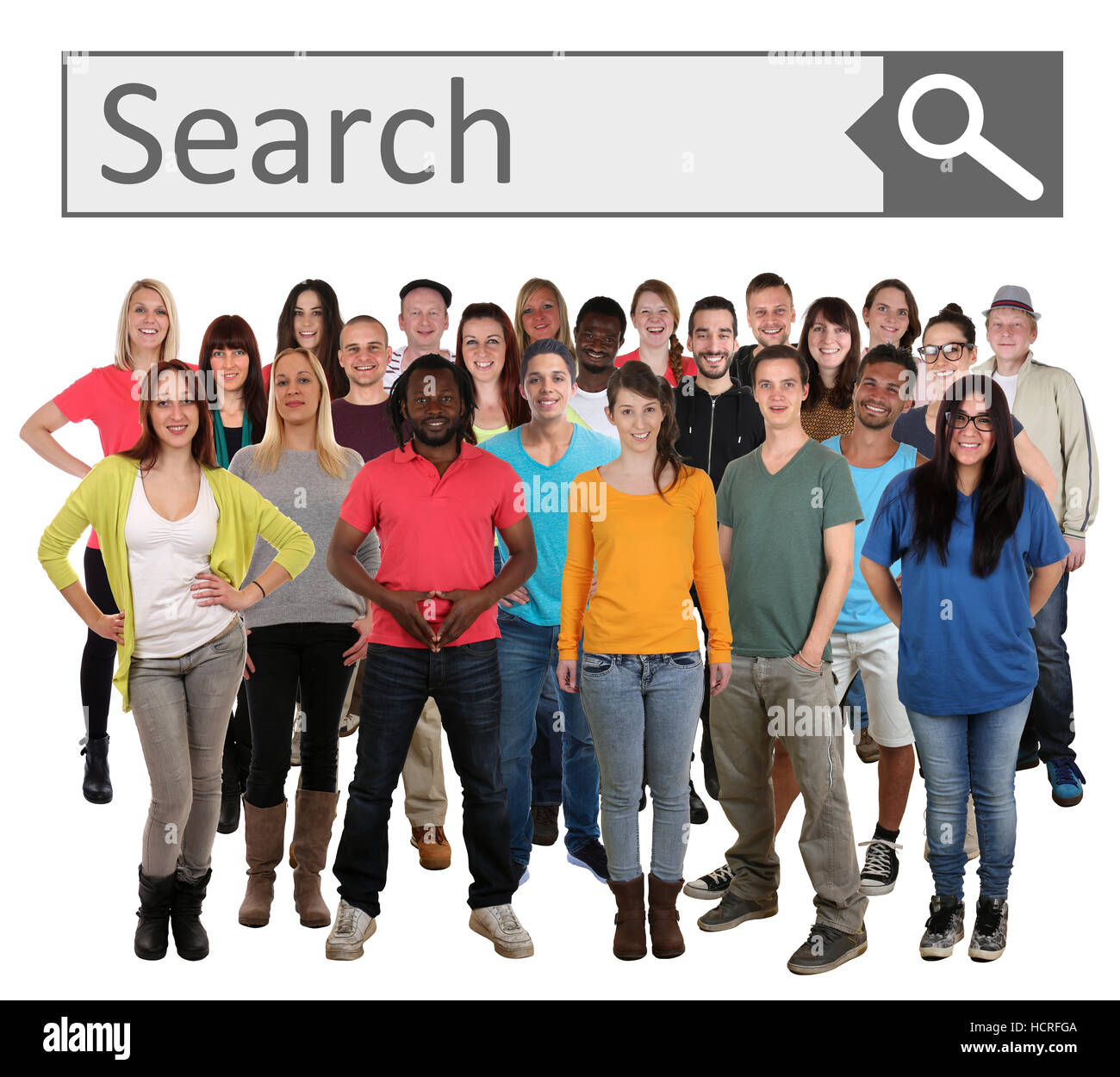 Group of young smiling people searching search engine internet isolated on a white background - Stock Image