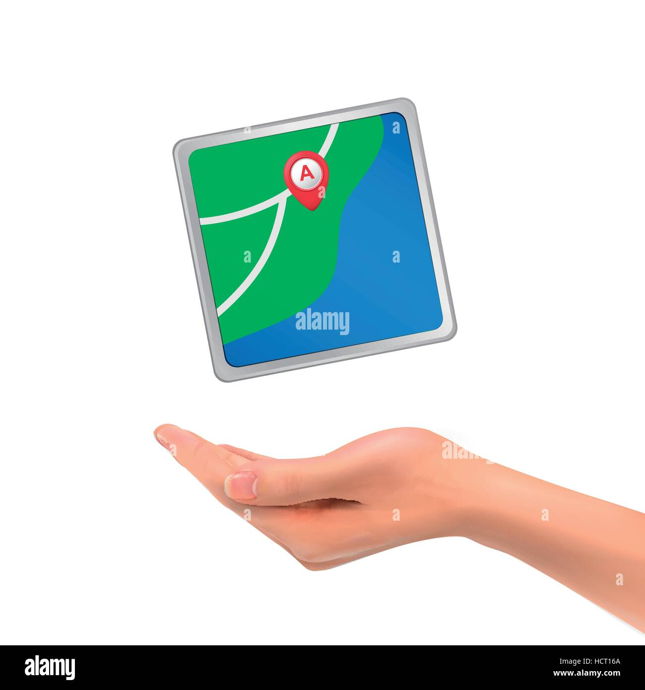 3d hand holding city map with marker over white background - Stock Vector