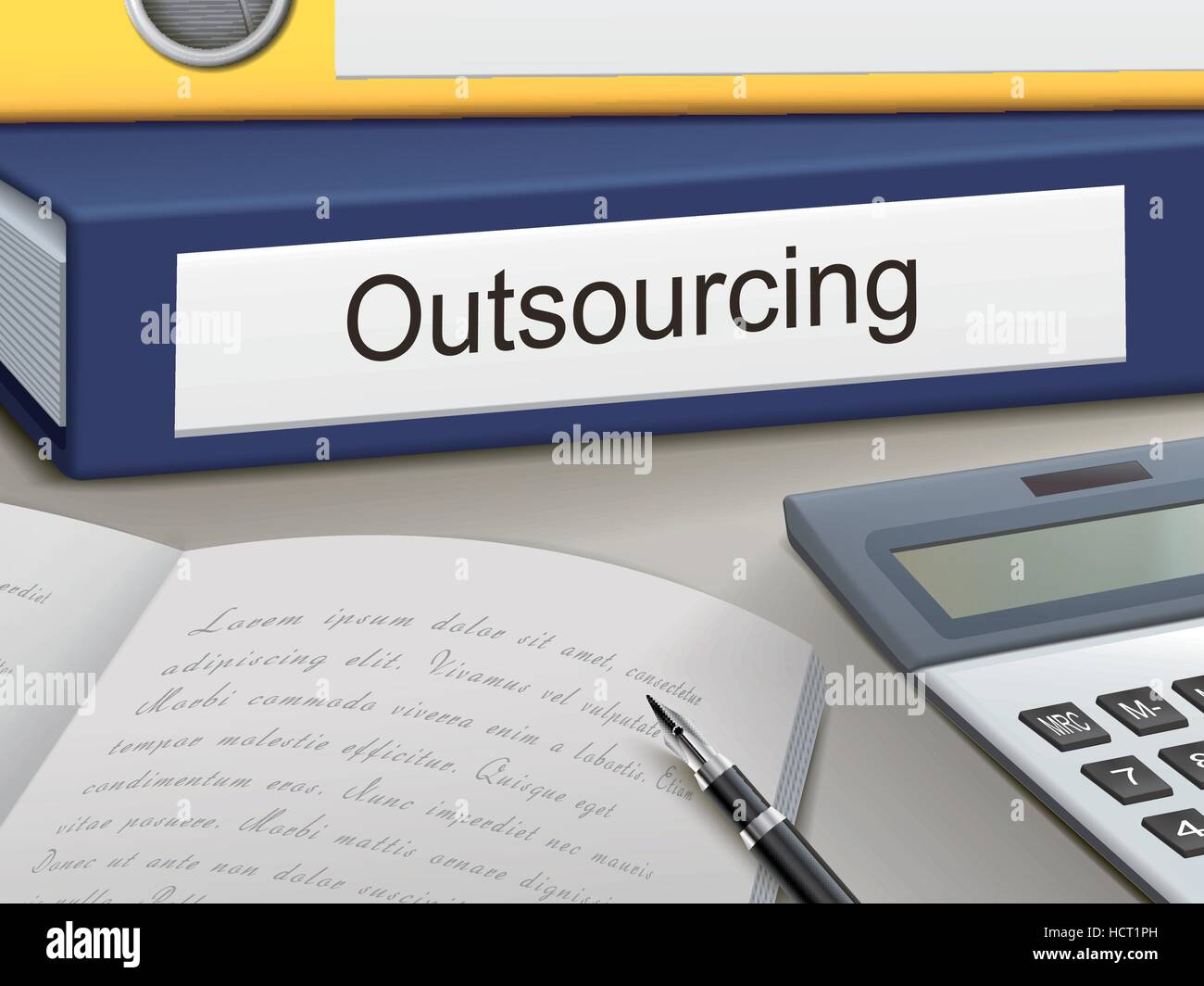 outsourcing binders isolated on the office table - Stock Vector