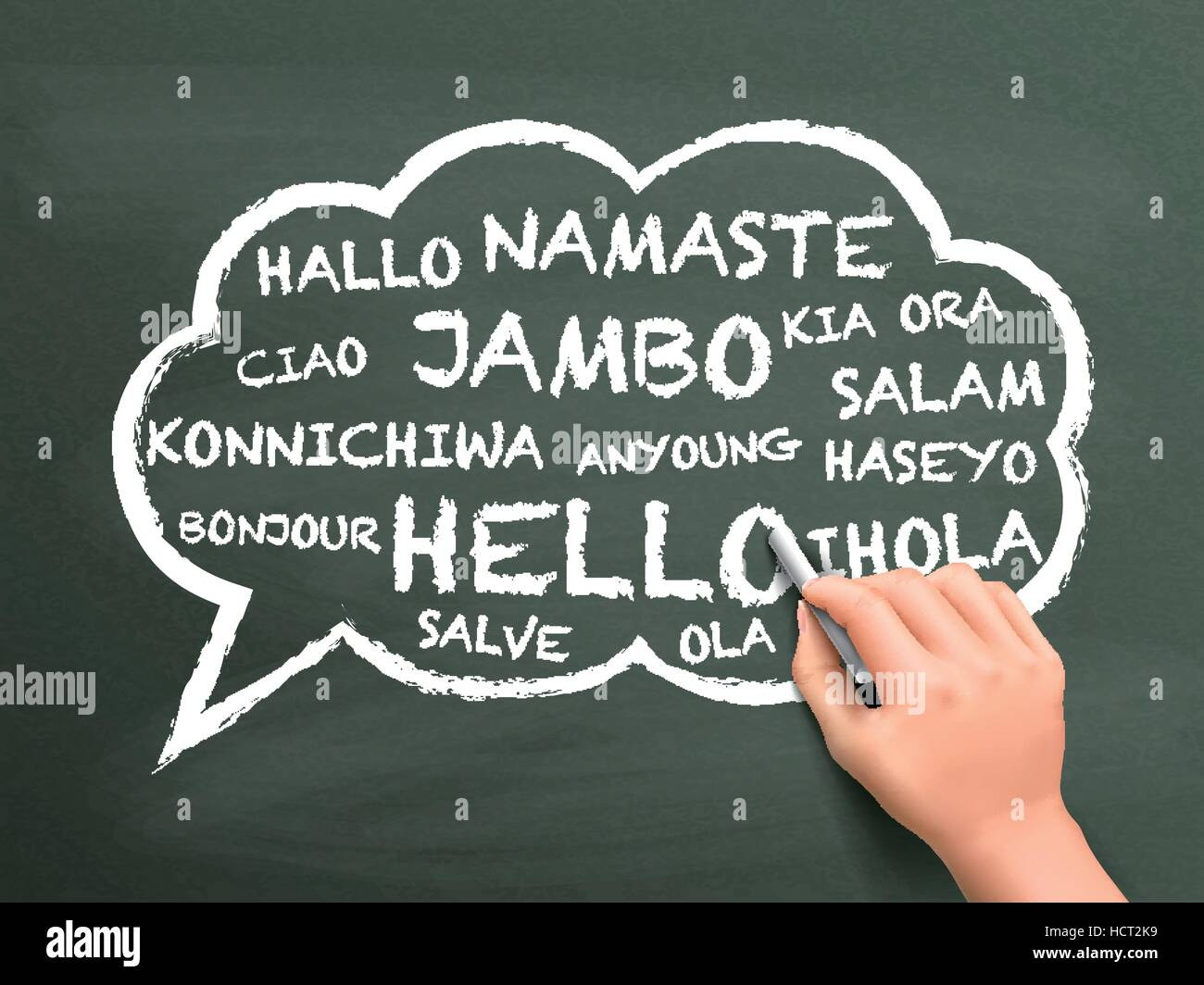 Greeting In Different Language Written By Hand Over Chalkboard Stock