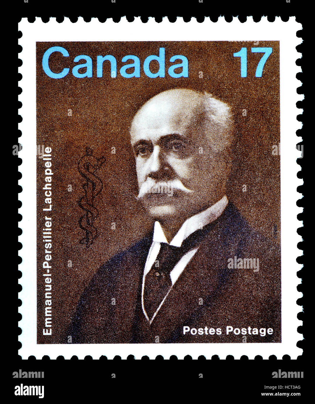 Canadian postage stamp (1980): Emmanuel-Persillier Lachapelle (1845–1918) Canadian physician and famous for his - Stock Image