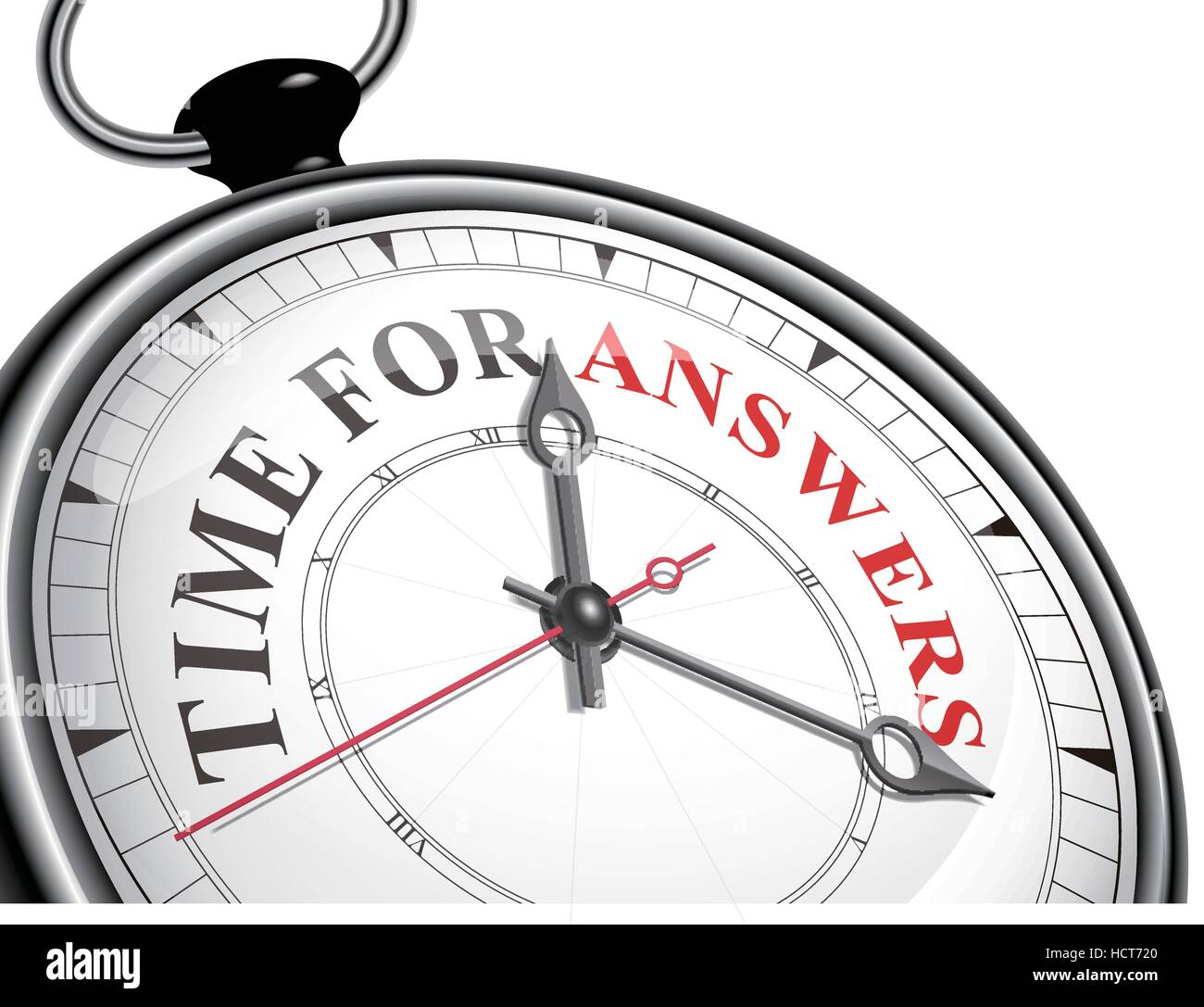 time for answers concept clock isolated on white background - Stock Vector