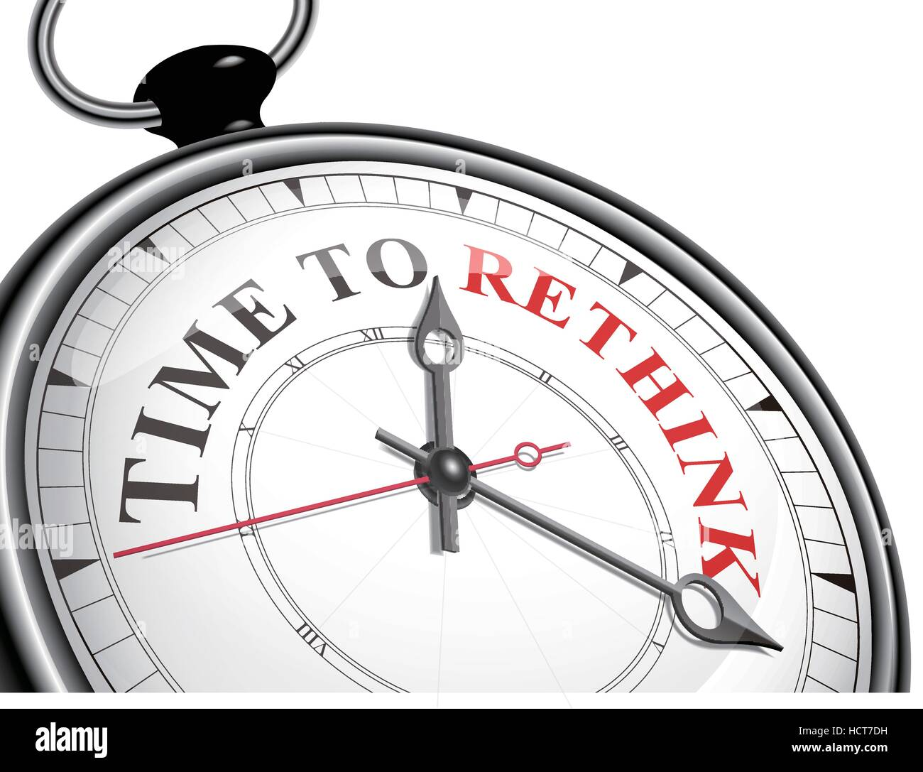 time to rethink concept clock isolated on white background - Stock Image