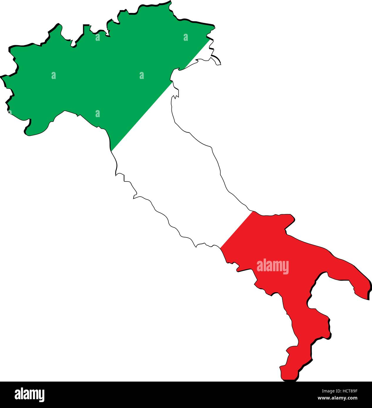 High resolution Italy map with country flag. Flag of the Italy