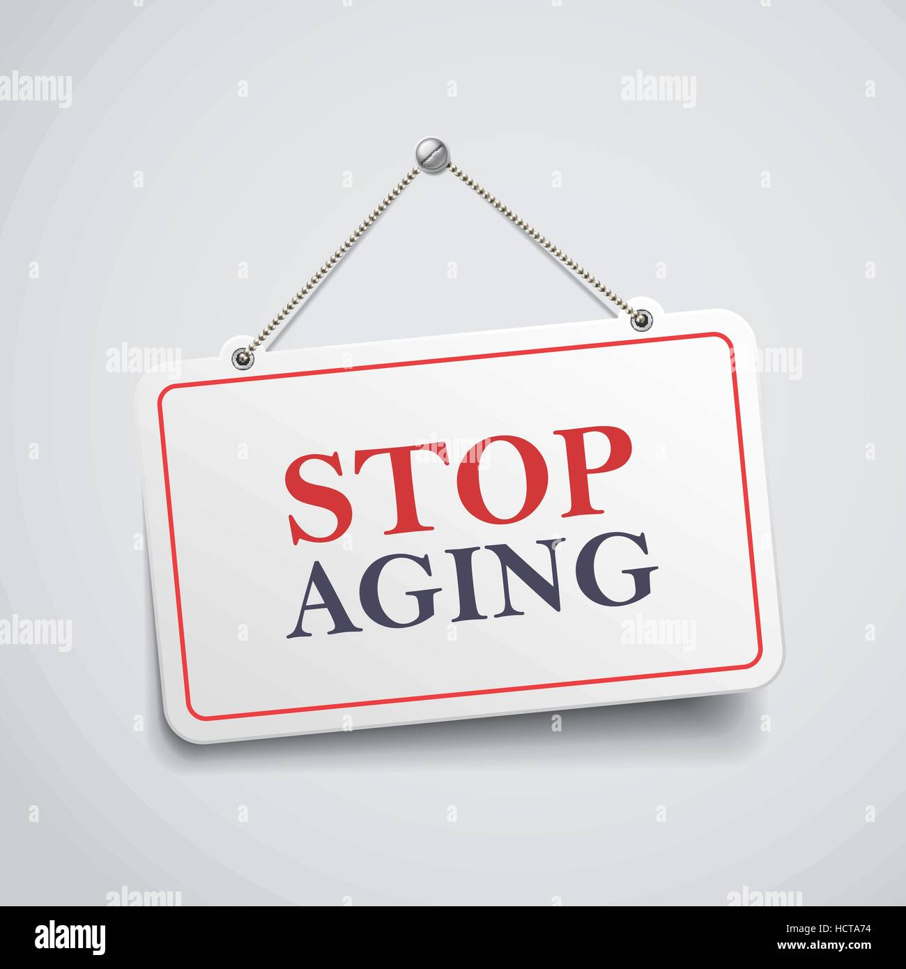 stop aging hanging sign isolated on white wall - Stock Vector