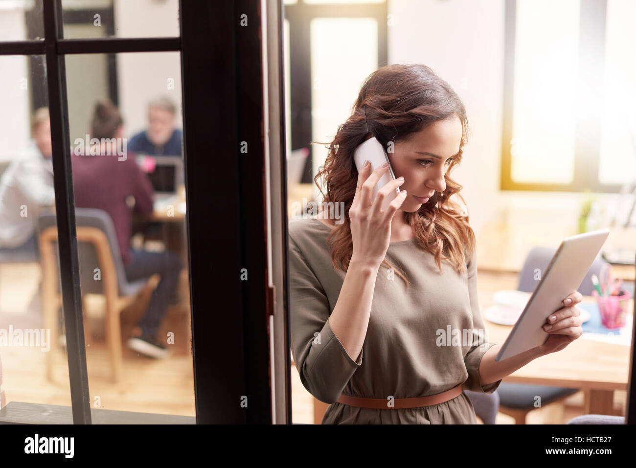Searching the free time for customer - Stock Image