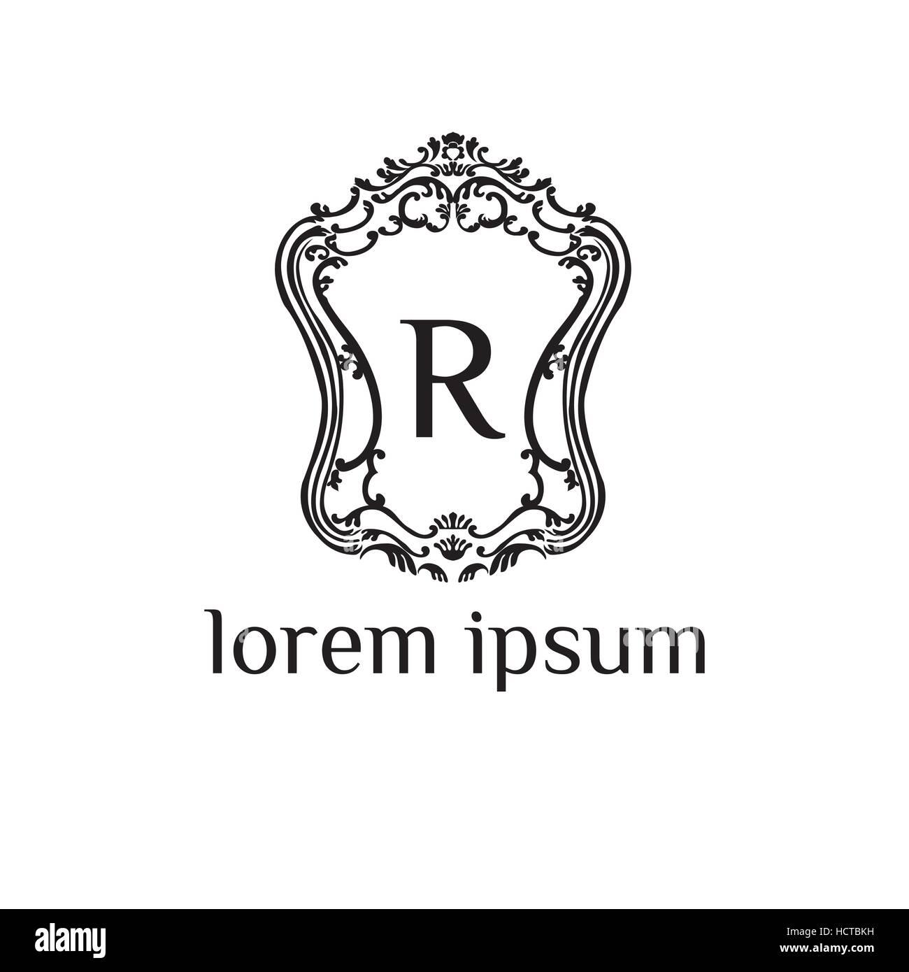 r letter vector logo design template luxury monogram for hotel