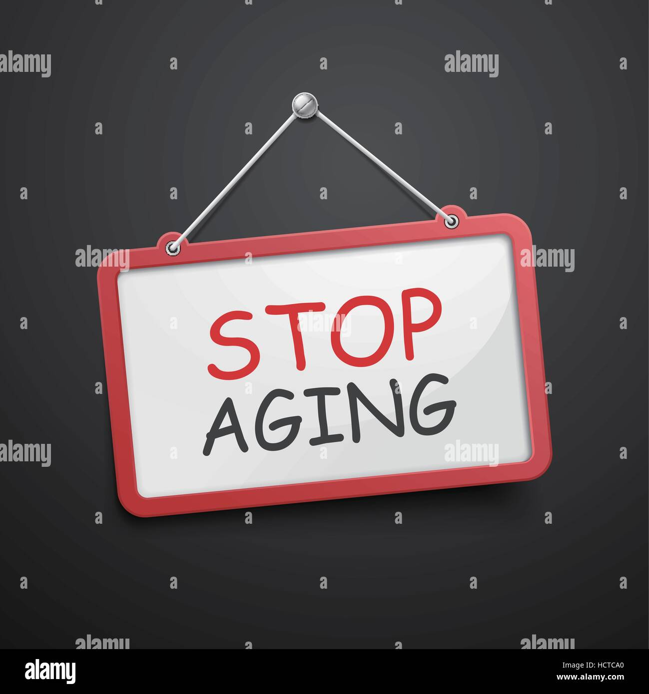 stop aging hanging sign isolated on black wall - Stock Vector