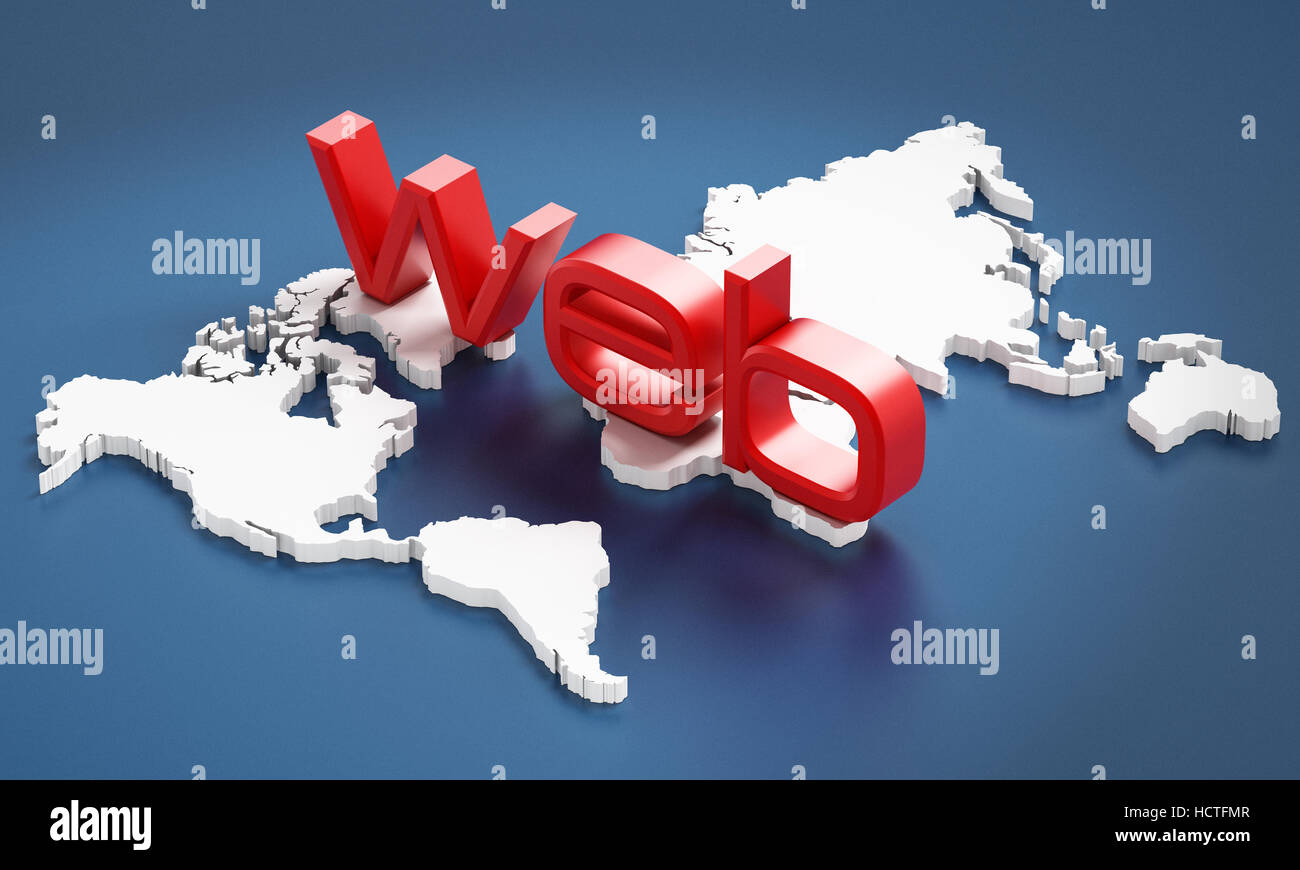 Red web word on Earth map. 3D illustration. - Stock Image