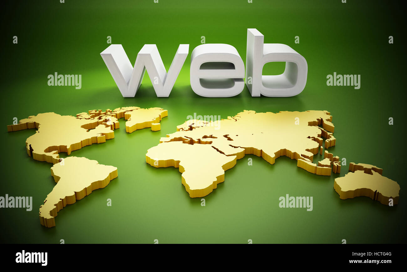 White web word on Earth map. 3D illustration. - Stock Image