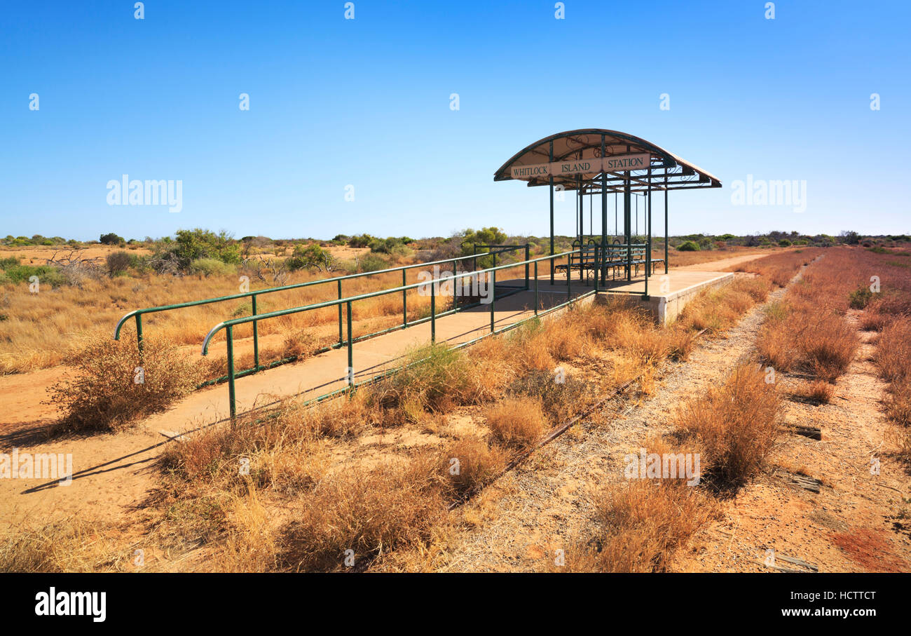 The abandoned Whitlock Island tram station in Carnarvon, Western Australia - Stock Image