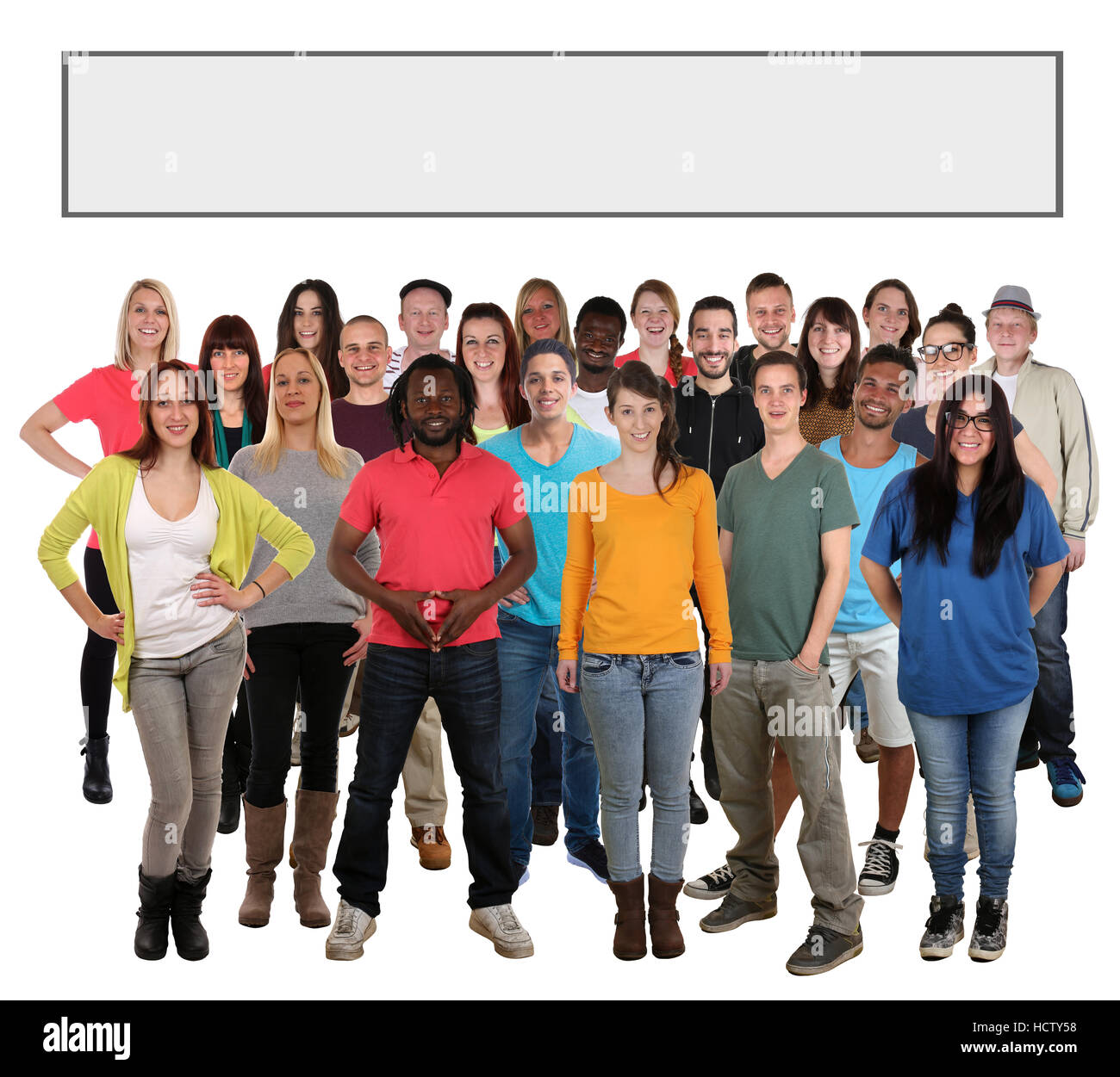 Group of young smiling people searching empty blank search bar internet isolated on a white background - Stock Image