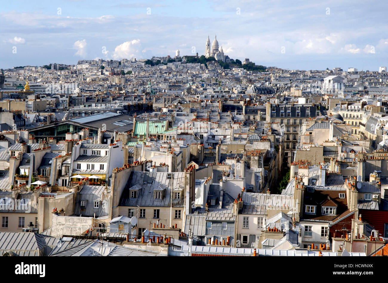 Large view of Montmartre and Paris / France - Stock Image