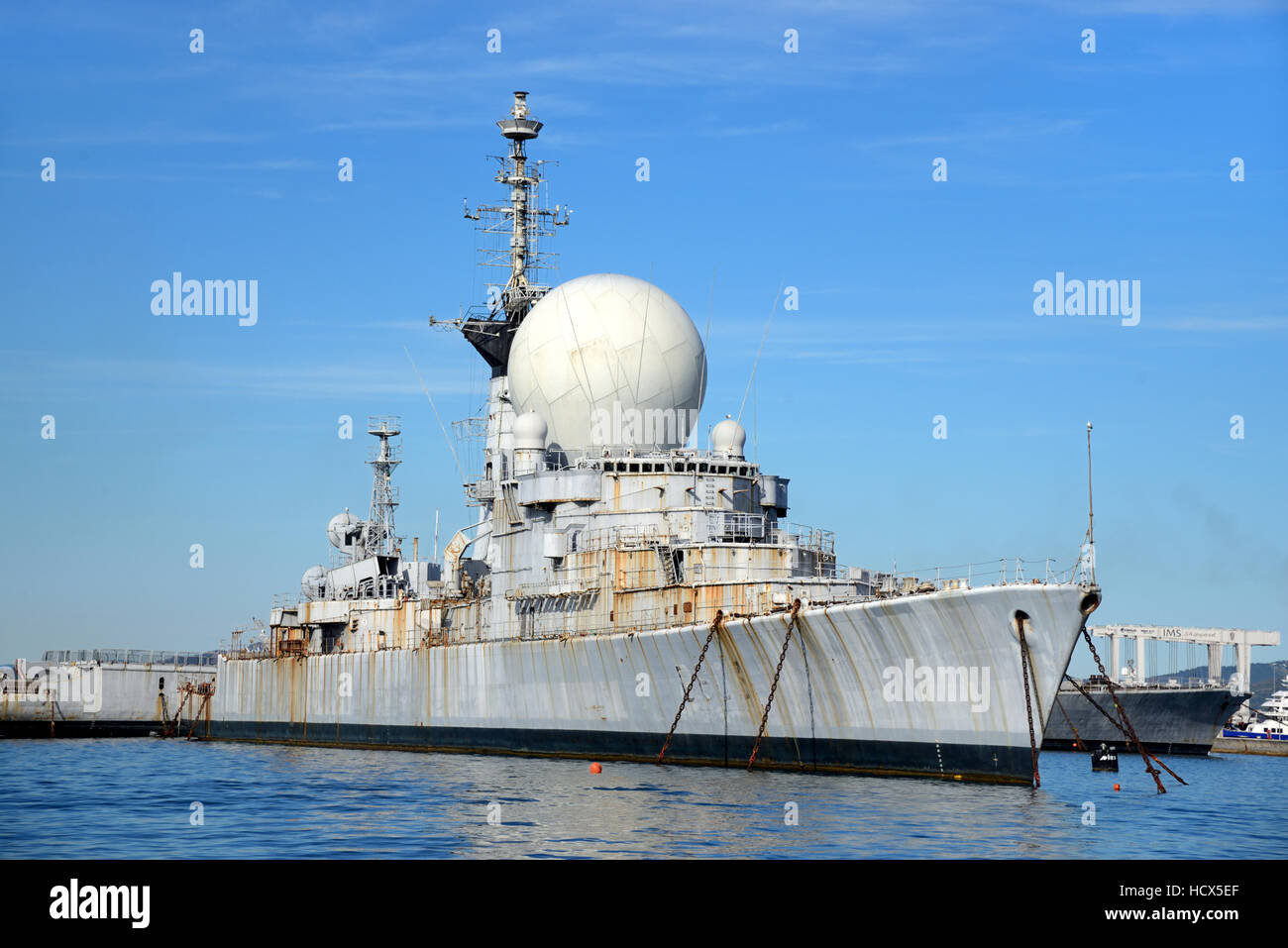 Decommissioned French Frigate Duquesne Ship or Warship Moored in the Bay of Toulon France - Stock Image