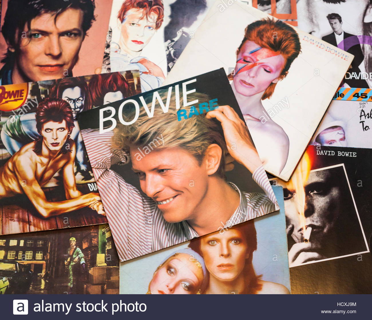 A selection of assorted David Bowie album covers, a tribute