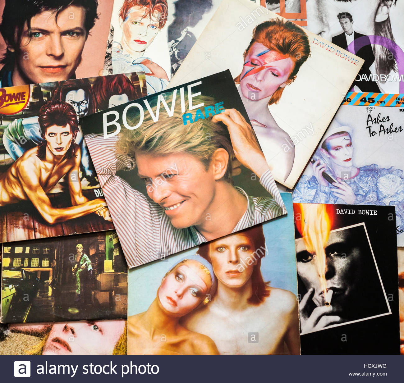 A selection of assorted David Bowie album covers, a tribute to this