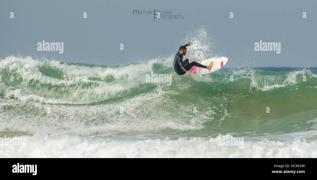 Surfing action on Spain's Costa de la Luz, 'Cadizfornia' Cadiz - Stock Image