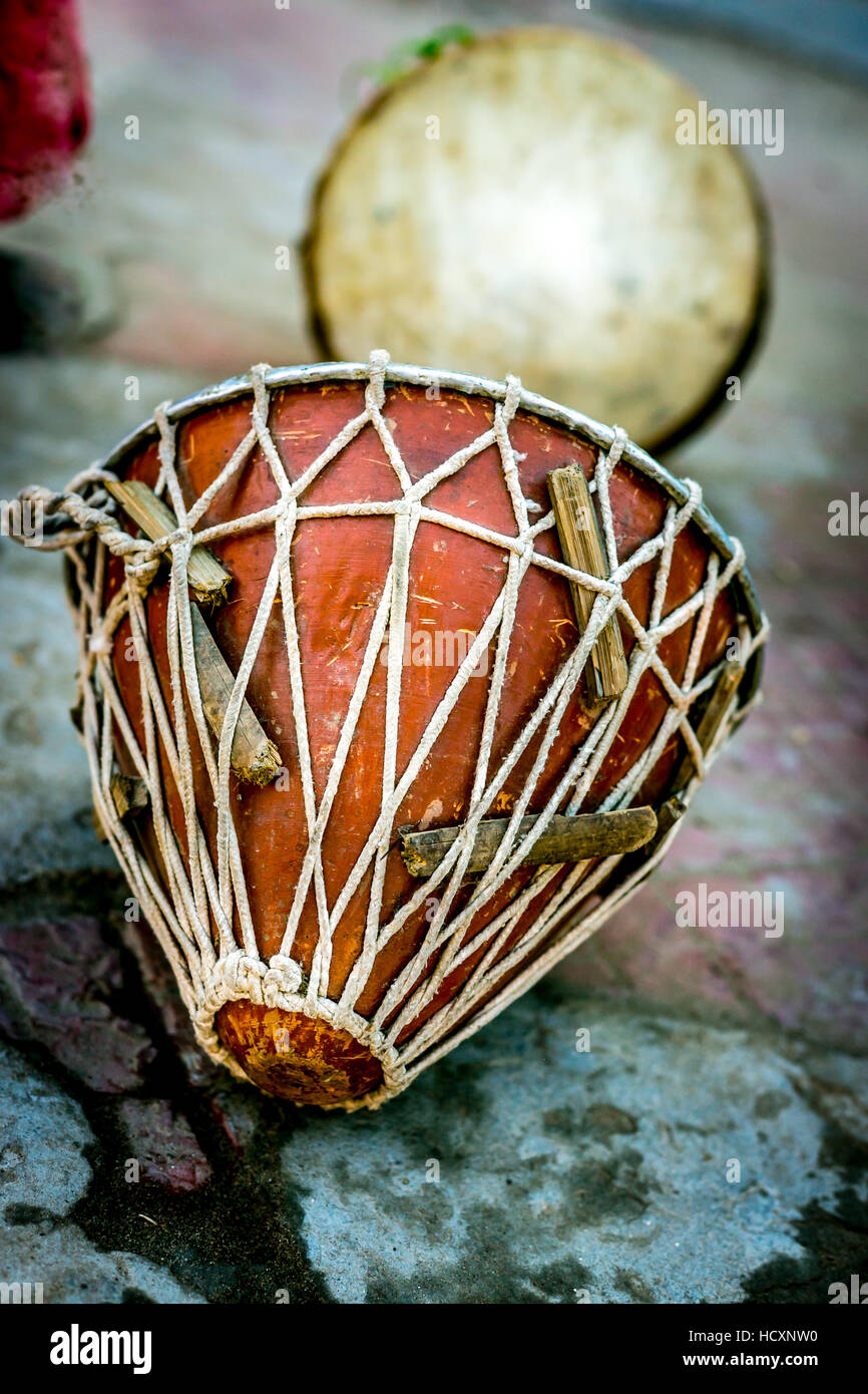 An ancient musical instrument called Nagara used in India during festivals of Hindu and Hinduism - Stock Image