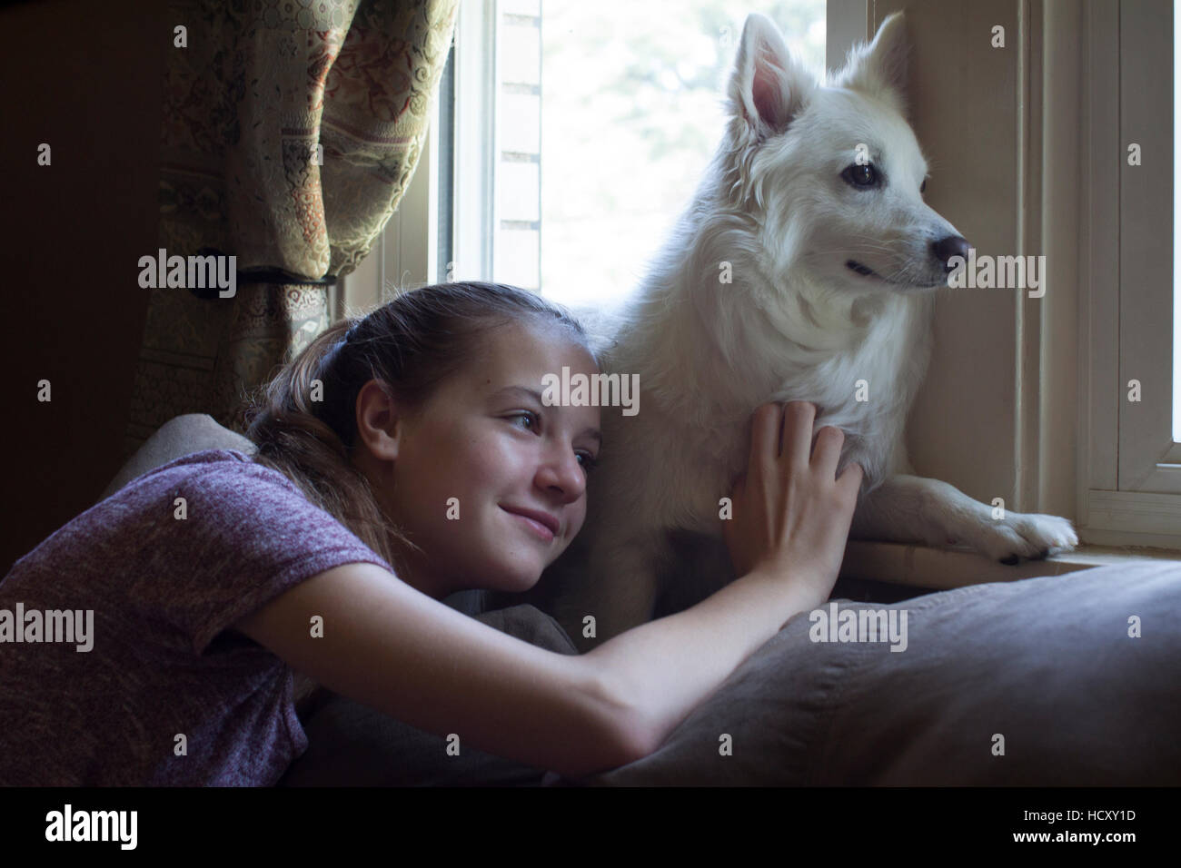 Teenage blonde girl with a white dog looking through the window - Stock Image