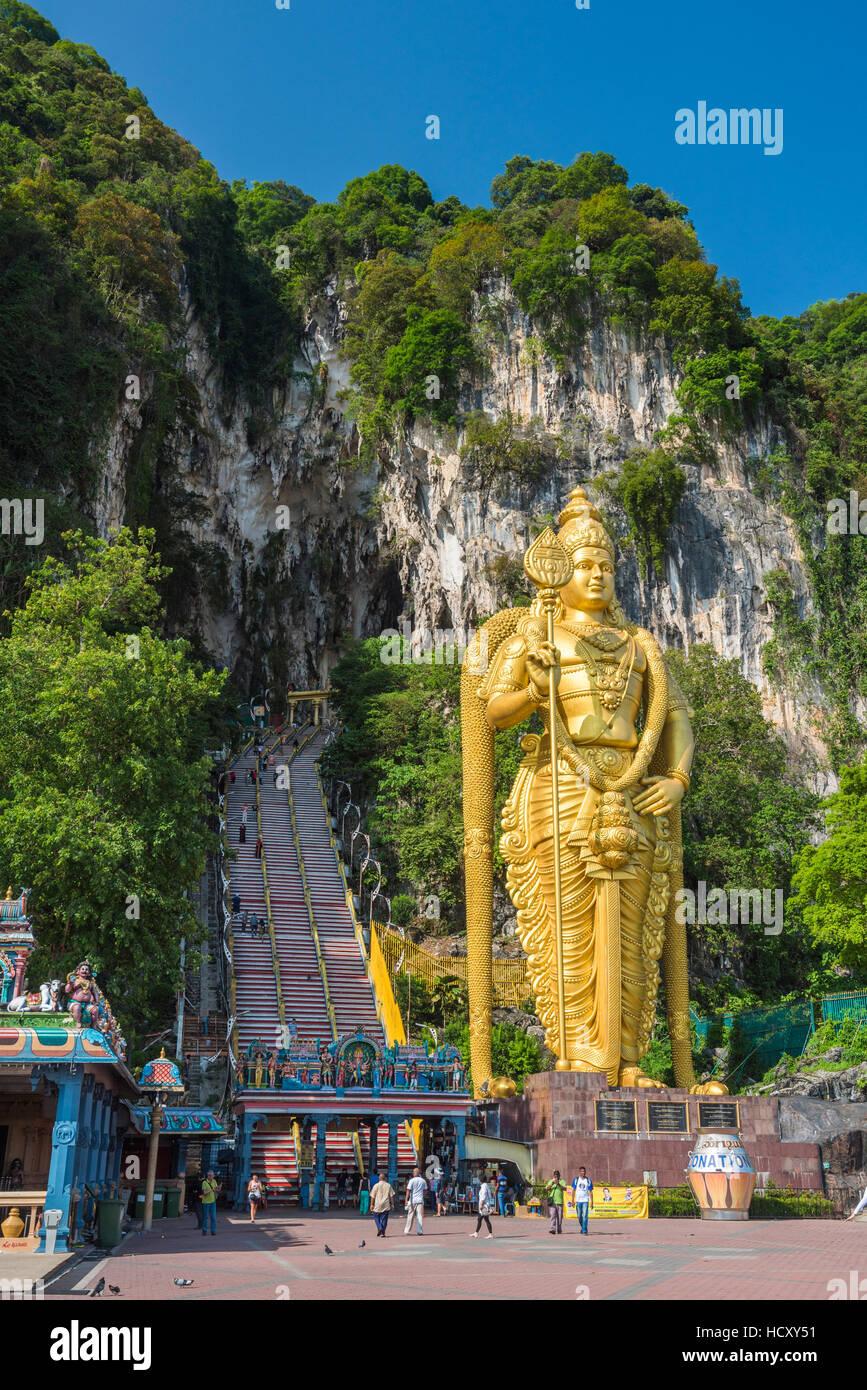 Lord Murugan dtatue, the largest statue of a Hindu Deity in Malaysia at the entrance to Batu Caves, Kuala Lumpur, - Stock Image