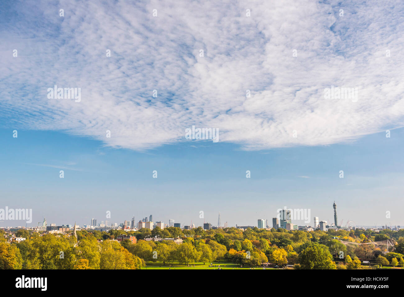 City skyline in autumn seen from Primrose Hill, Chalk Farm, London Borough of Camden, London, UK - Stock Image