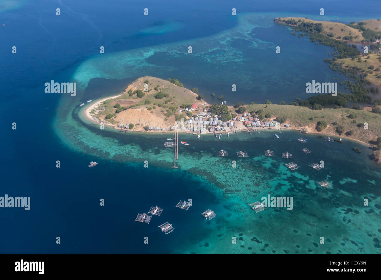 Aerial view of Flores Island from a commercial flight, Flores Sea, Indonesia Stock Photo