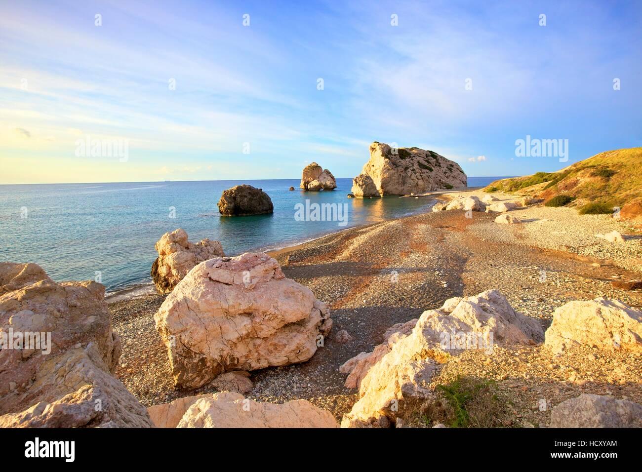 Aphrodites Rock, Paphos, Cyprus, Eastern Mediterranean Sea Stock Photo