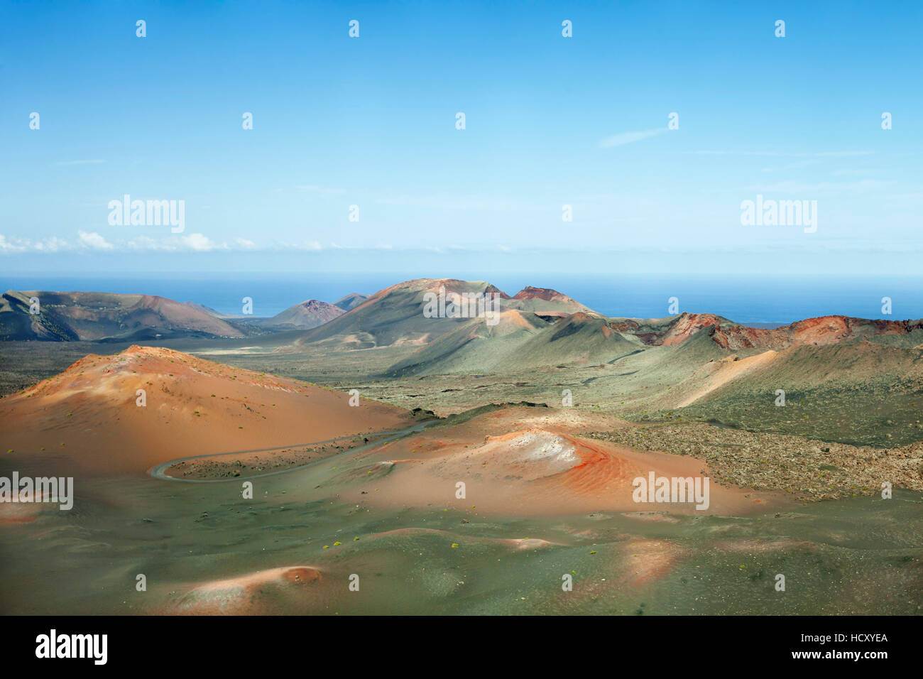 Ruta de los Volcanes, Montanas del Fuego, Parque National de Timanfaya, Lanzarote, Canary Islands, Spain, Atlantic - Stock Image