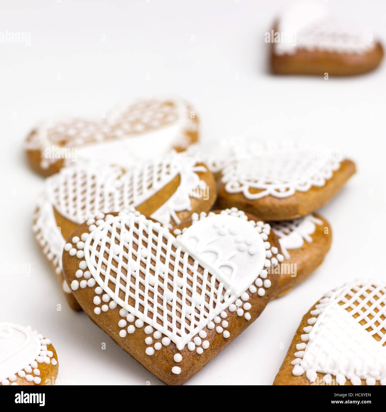 Homemade Gingerbread Cookies with White Icing Stock Photo