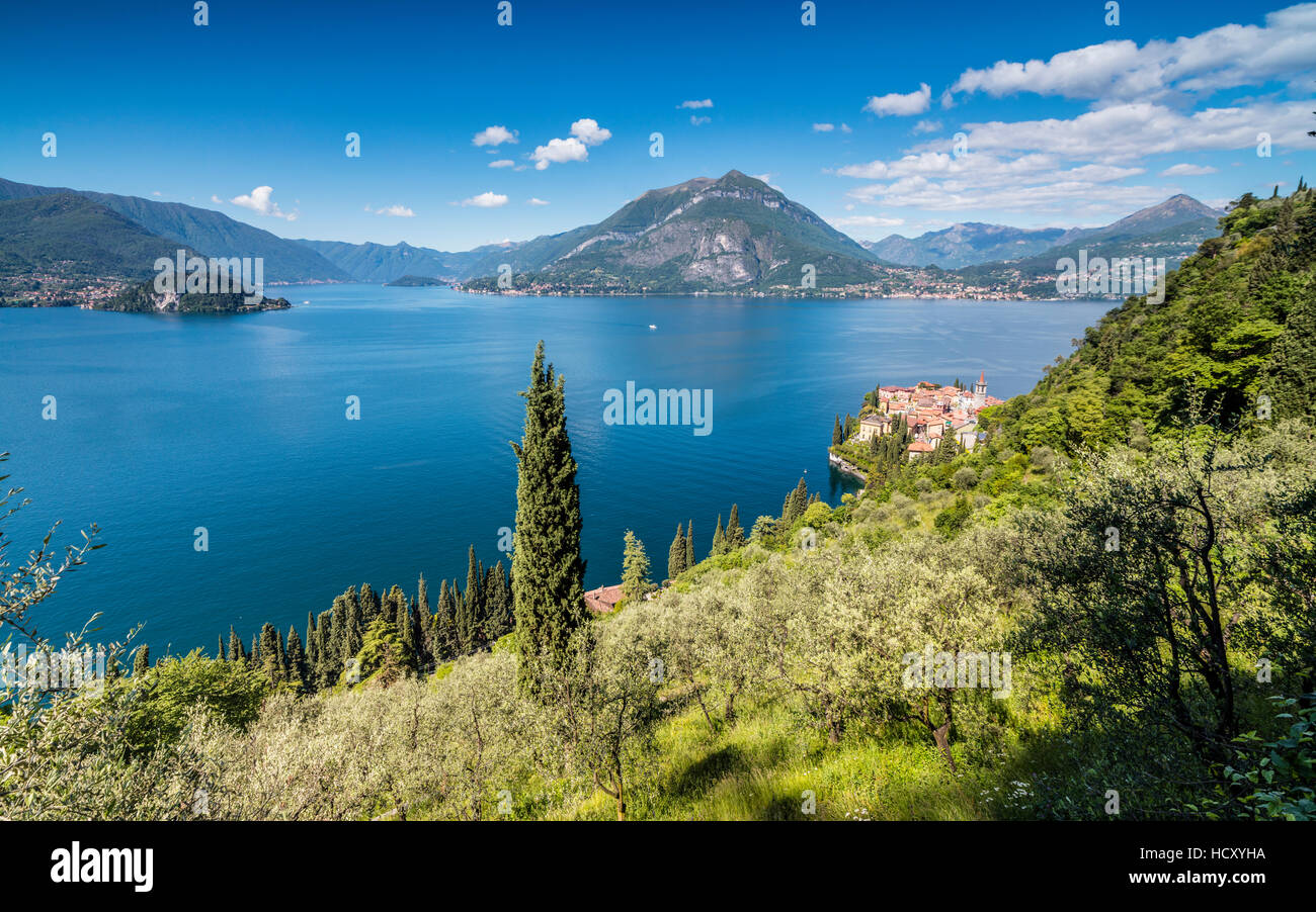 View of the typical village of Varenna and Lake Como surrounded by mountains, Italian Lakes, Province of Lecco, - Stock Image