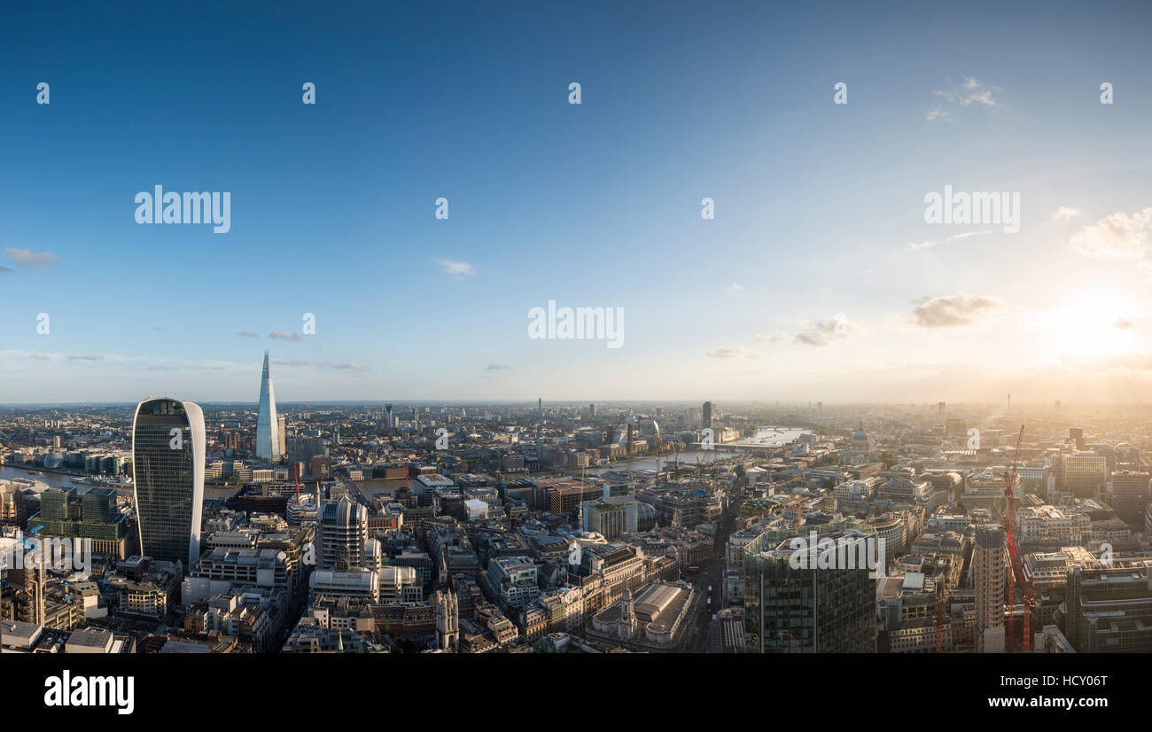 A view of London with 20 Fenchurch Street (The Walkie Talkie) and The Shard, London, UK - Stock Image