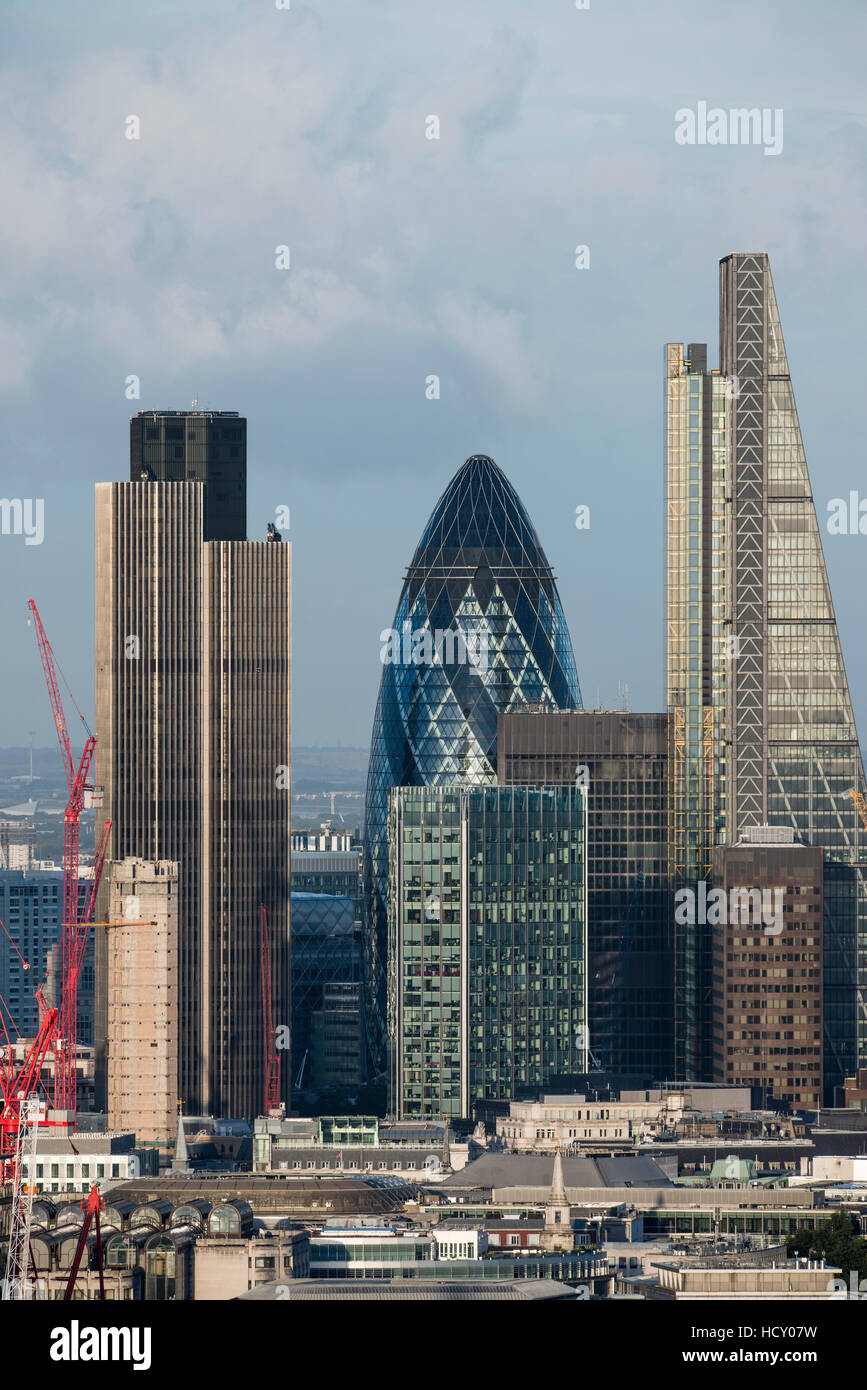 A view of the City of London including Tower 42, Swiss Re (The Gerkin), and Leadenhall Building (The Cheesegrater), - Stock Image