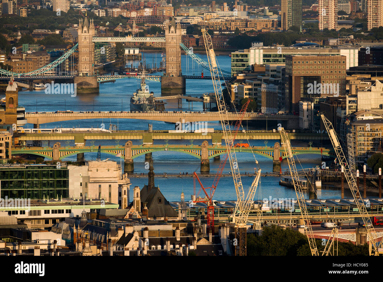 A view of the River Thames and Tower Bridge from the top of Centre Point tower, London, UK - Stock Image