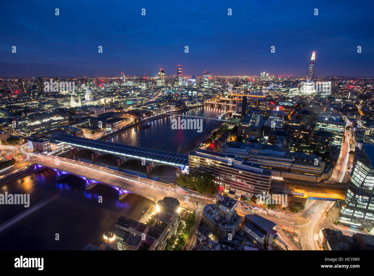 A night-time view of London and the River Thames including The Shard, St. Paul's Cathedral and Tate Modern, - Stock Image