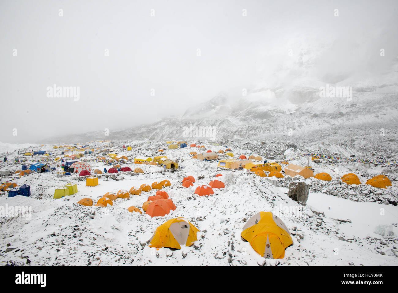 Everest Base Camp at the end of the Khumbu glacier lies at 5350m, Khumbu Region, Nepal - Stock Image