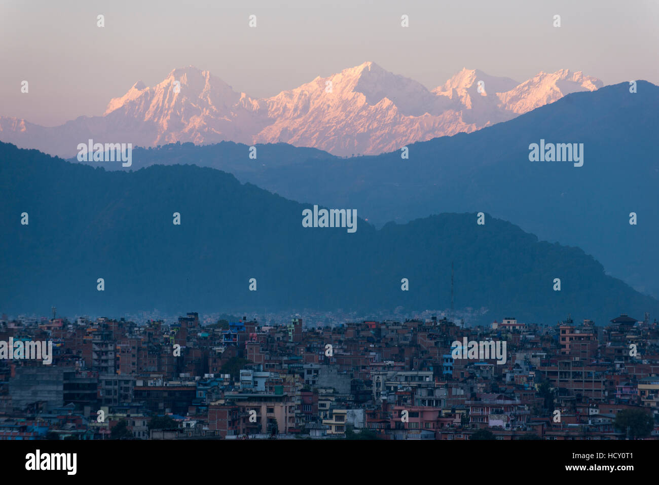 Kathmandu and Ganesh Himal range seen from Sanepa, Nepal - Stock Image