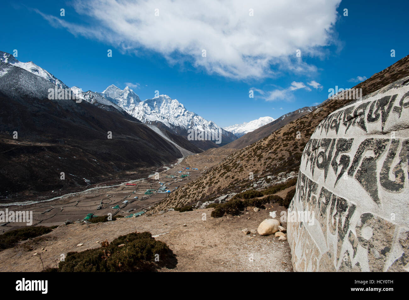 The village of Dingboche in the Khumbu (Everest) Region, Nepal - Stock Image
