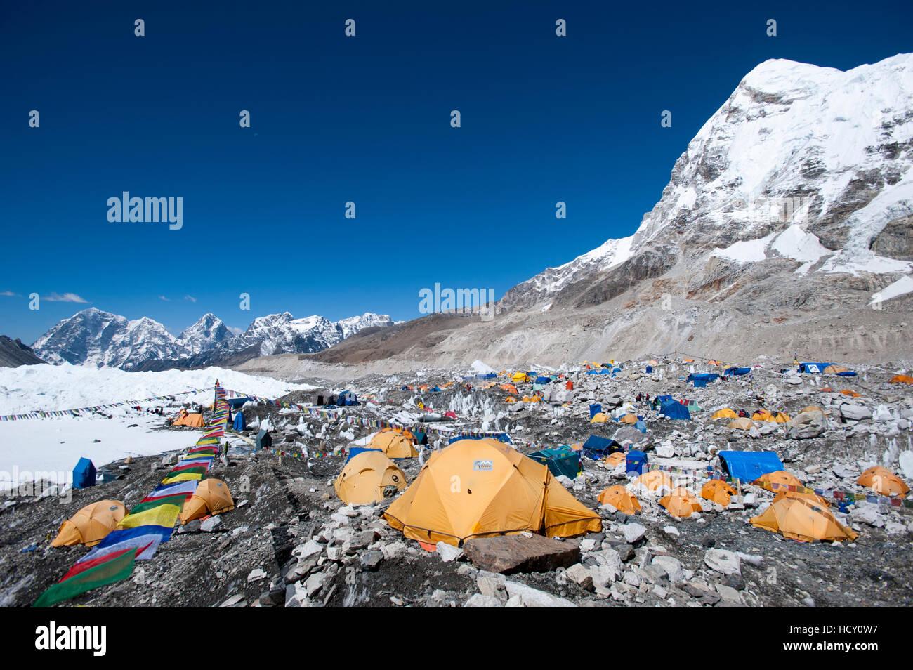 Everest Base Camp, a temporary city at 5500m on the Khumbu glacier, Khumbu Region, Nepal - Stock Image