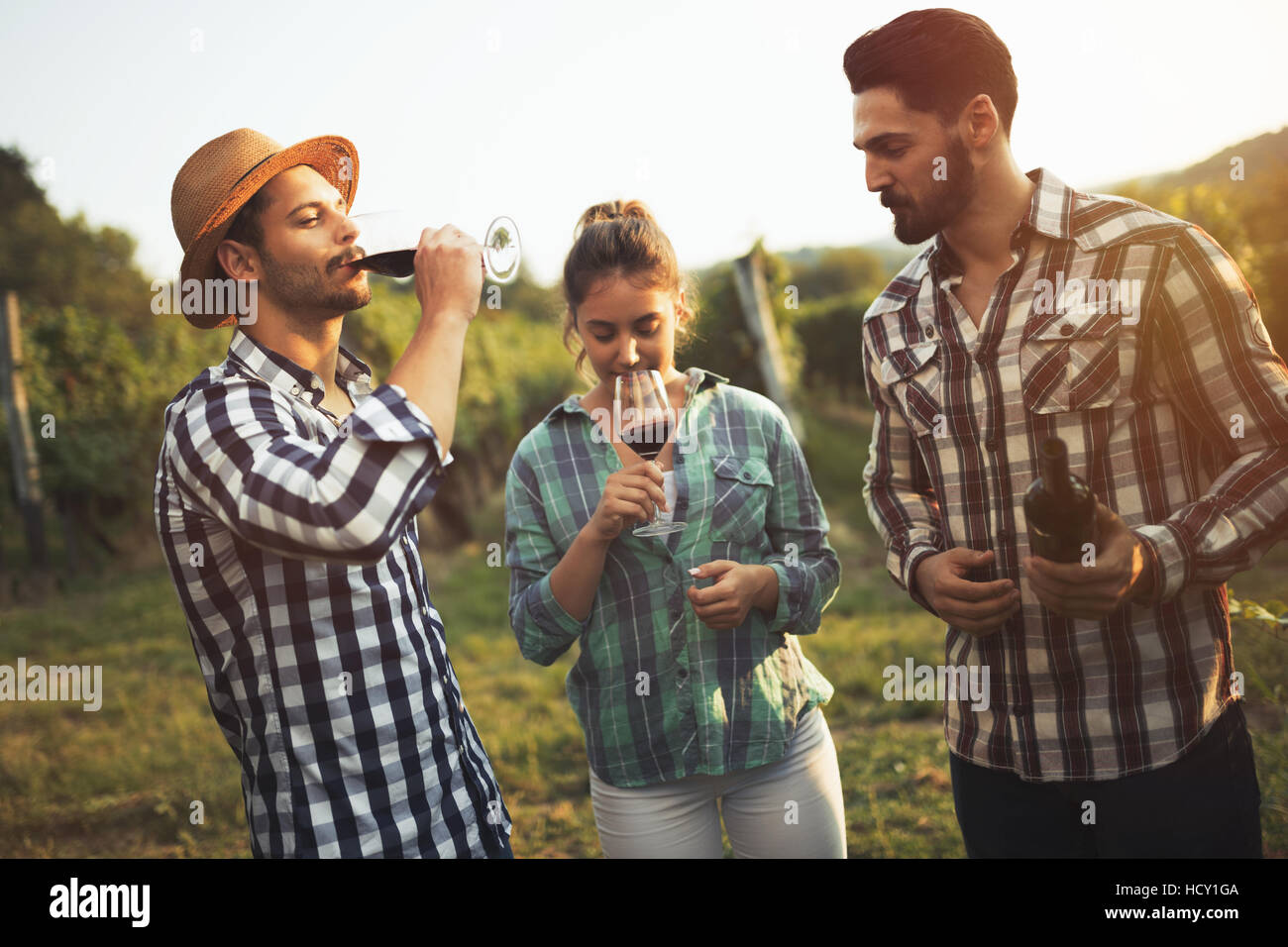 Happy wine tourists tasting wine in vineyard - Stock Image