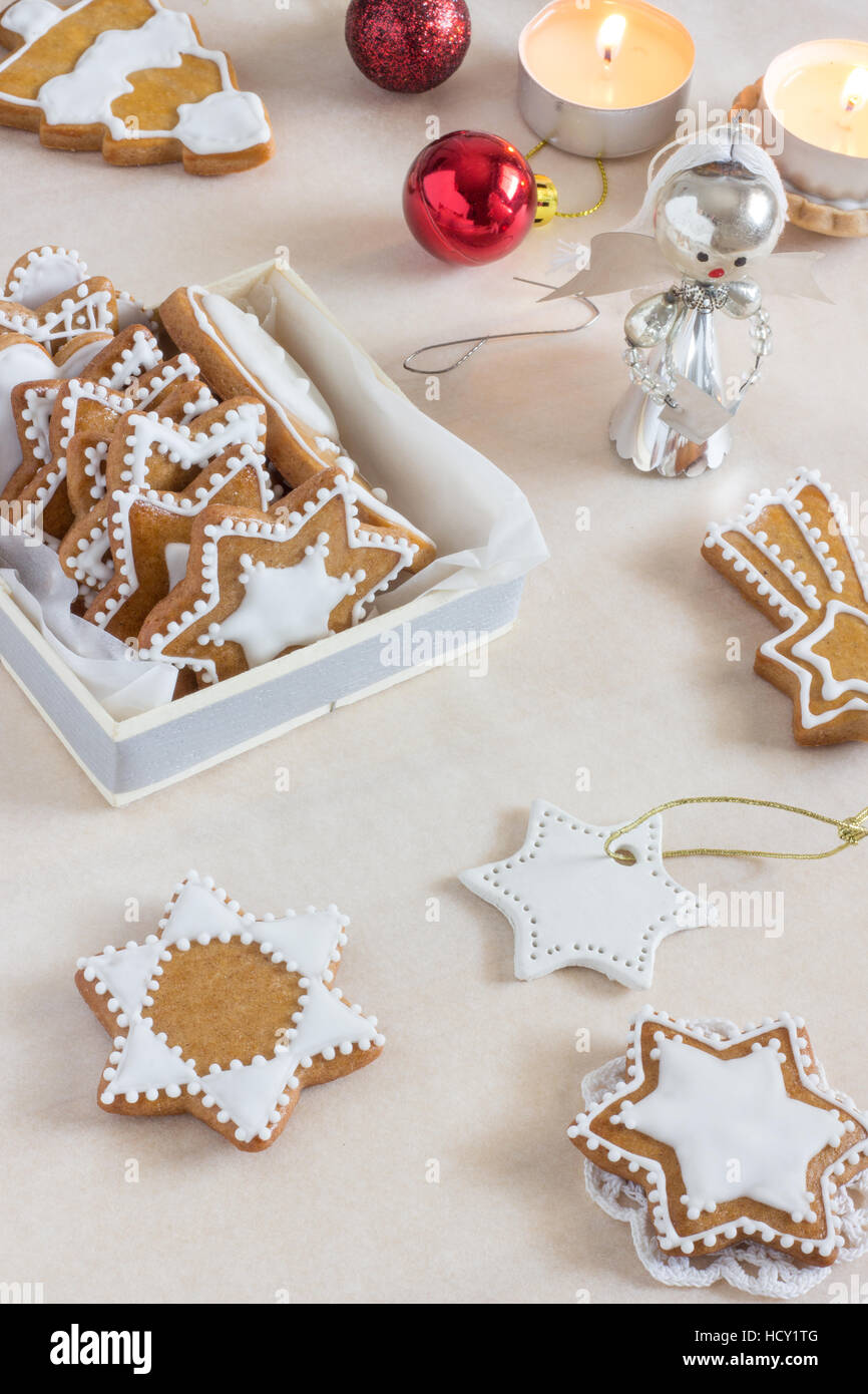 Homemade Gingerbread Cookies with White Icing - Stock Image