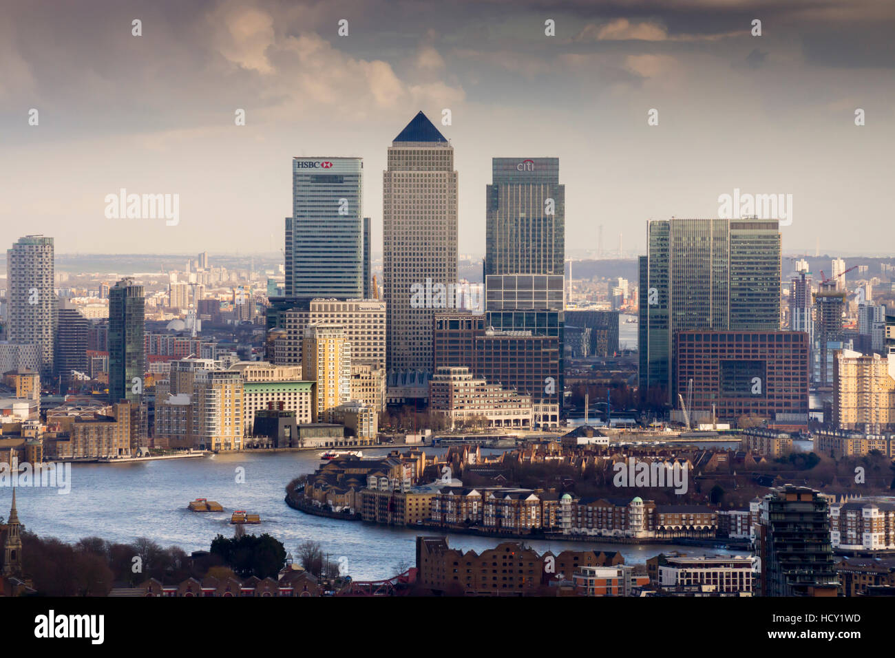 Moody view of Canary Wharf, Docklands, from above, London, UK - Stock Image