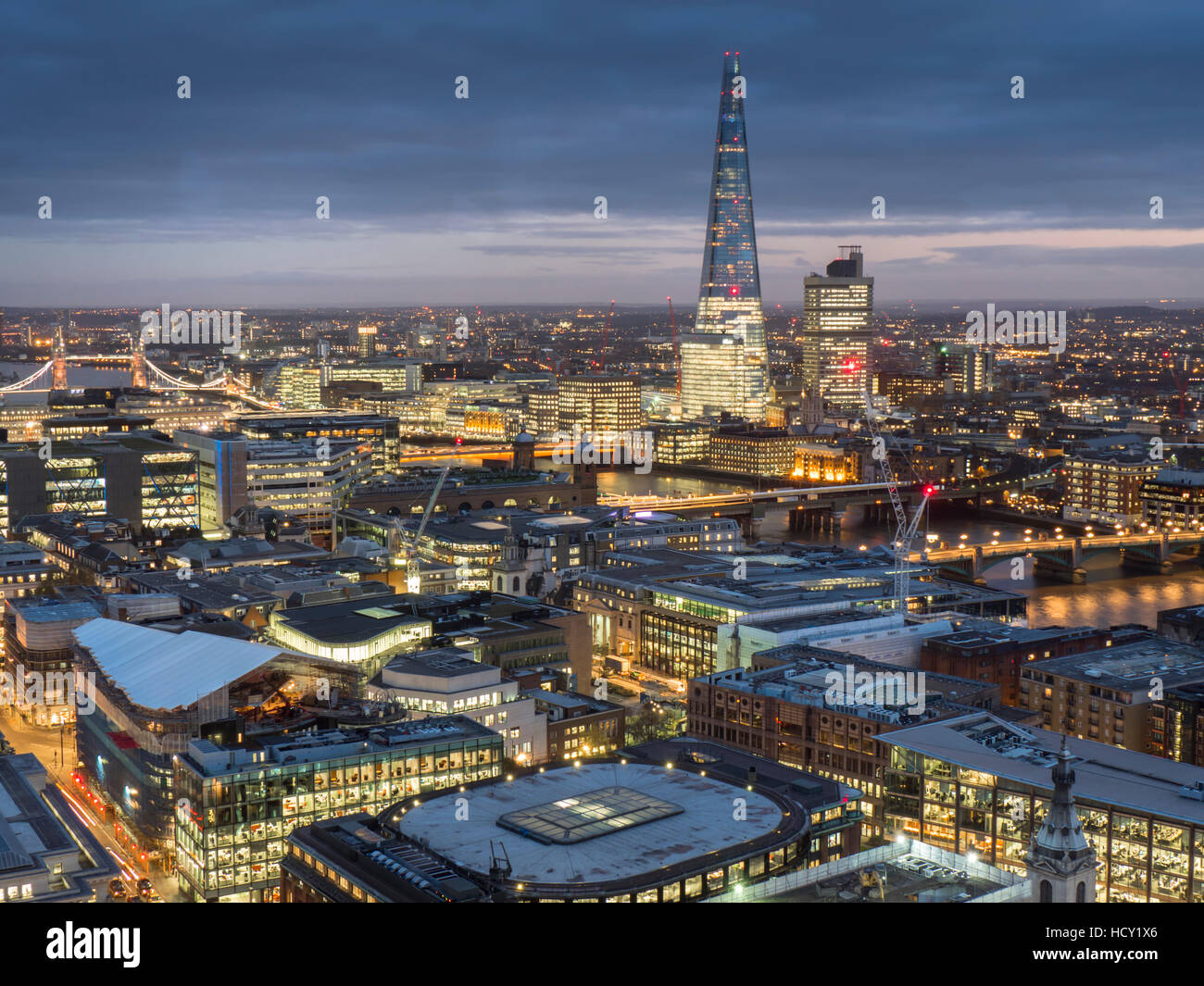 Cityscape with The Shard at dusk, London, UK - Stock Image