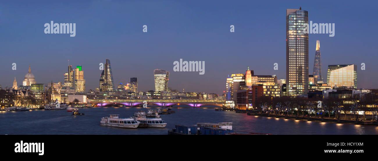City and Blackfriars panorama with The Shard, London, UK - Stock Image
